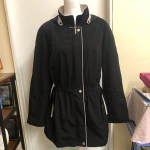 Liz Claiborne Trench Coat / Rain Coat Jacket Black